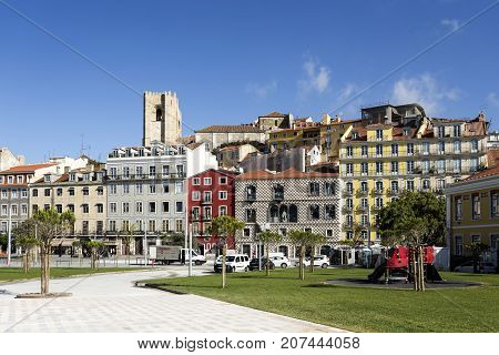 LISBON, PORTUGAL - September 25, 2017: Alfama District including the Cathedral Bell Towers and Casa dos Bicos in Lisbon Portugal