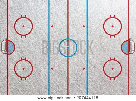 Hockey rink box with goals. Hockey court, field. Top view