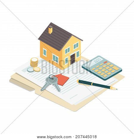 Model house house keys and contract: real estate loans and investments concept