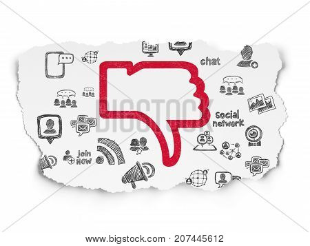 Social media concept: Painted red Thumb Down icon on Torn Paper background with  Hand Drawn Social Network Icons
