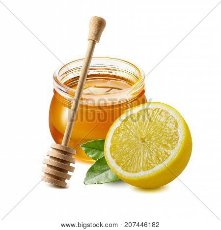 Traditional remedy ingredients for cold treatment - honey and lemon isolated on white background for package design