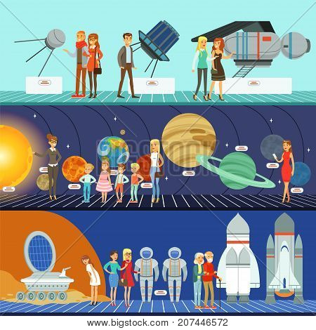 People in the planetarium set, innovation education museum, kids on lecture about space galaxy horizontal vector Illustrations