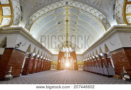 Bandar Seri BegawanBrunei Darussalam-MARCH 312017: Sultan Omar Ali Saifuddin Mosque in the center of city