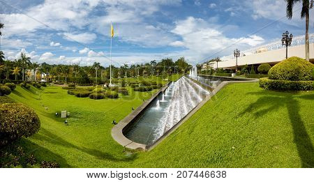 Bandar Seri BegawanBrunei Darussalam-MARCH 312017: Cascade of fountains in the territory of the palace of the Sultan of Brunei