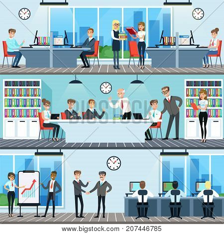 Business people working in office set, men and women having conference and meeting for business collaboration, office interior horizontal vector Illustrations