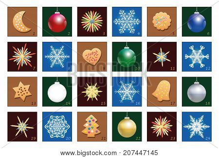 Advent calendar with christmas balls, snowflakes, shortcrust cookies and straw stars - numbered in clear ascending order.