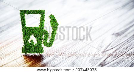 Biofuel Gas Station On Wooden Background. 3D Illustration.