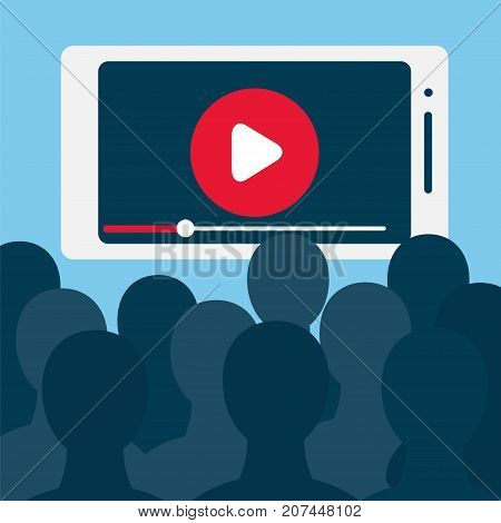 Big number of viewers in front of big smartphone screen. Stock vector illustration for online broadcast mobile content home cinematv live stream watching digital entertainment and addiction.