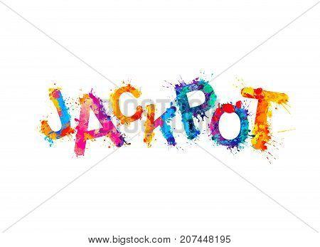 Jackpot! Vector watercolor rainbow splash paint inscription