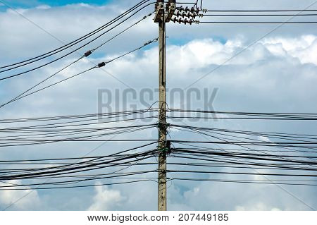 electrical power equipment High voltage fuse with blue sky background