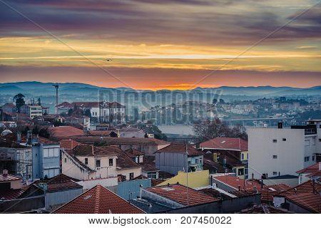 Early morning Porto Portugal. Aerial view with Vila Nova de Gaia city on background