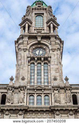 Tower of Porto City Hall in Porto city Portugal