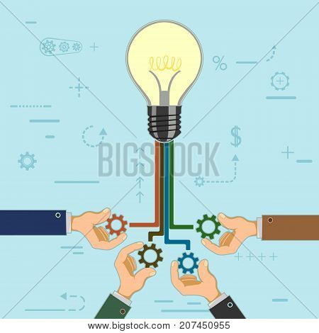 Businessman Hold Gears In Hands On The Background Of A Light Bulb. Symbol Of Partnership And Coopera