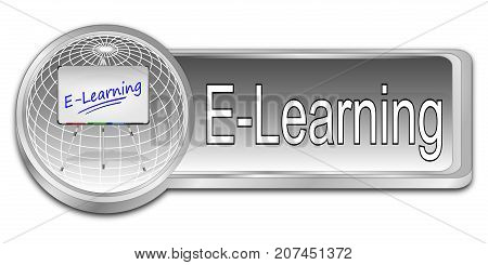 decorative silver E-Learning Button - 3D illustration