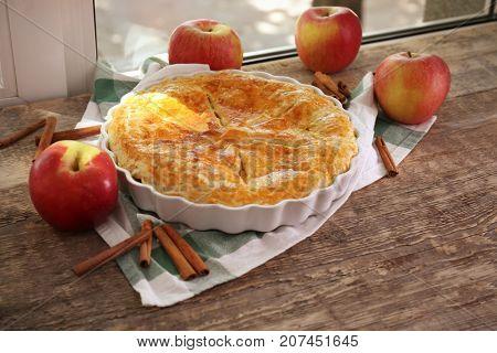 Delicious pie on windowsill