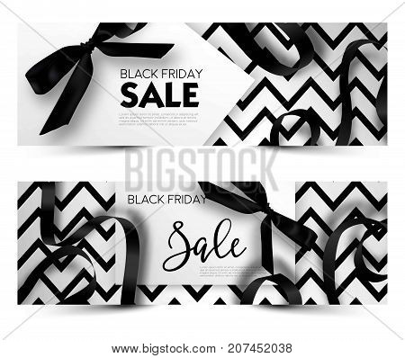 Black Friday sale discount promo offer poster or advertising flyer and coupon. Vector elegant design of piece of paper and realistic black gift bow tie ribbon for premium fashion shop sale on zig zag black background. Set of two banners.