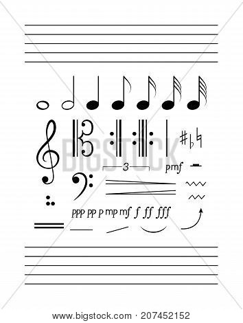 Notes staff clefs solfeggio set. Big music clipart collection