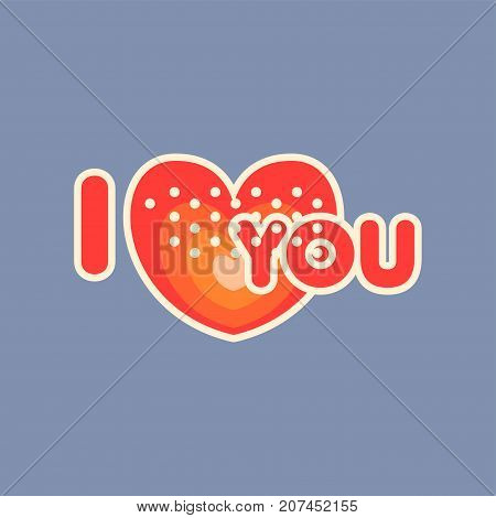 Flat design social network sticker I love you. Everyday expression with heart. Love confession. Illustration for online communication, networking, web, mobile message, chat, cards. Isolated vector