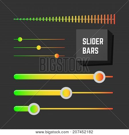 Colorfull slider bars set. UI design collection.