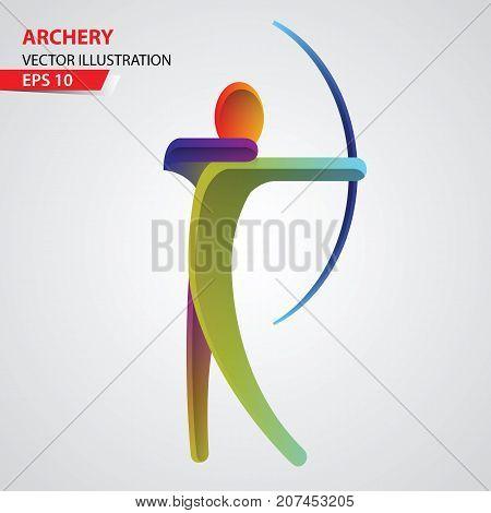 Archery color sport icon design Template. Vector Illustration.