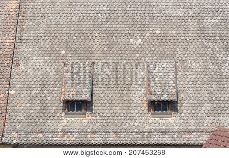 historic roof detail seen in Rothenburg ob der Tauber a town in Middle Franconia in Bavaria Germany