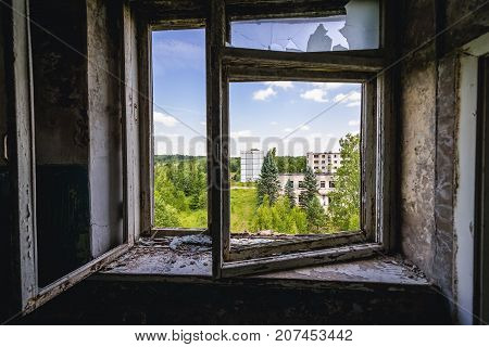 Interior of abandoned building in former Soviet military town Skrunda-1 in Latvia