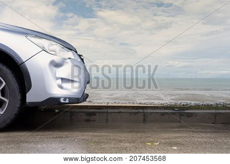 car silver color crash damage bumper breakdown