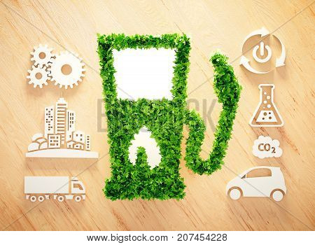 Biofuel concept on wooden background. 3d illustration.