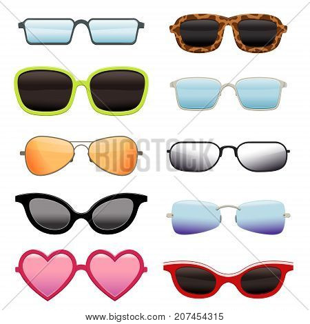 Different sun glasses set for your designs. Many shapes cats-eye, square, aviator, wayfarer, heart shape, drop, rectangle-rimless. Fashion accessory collection. Vector illustration isolated on white.