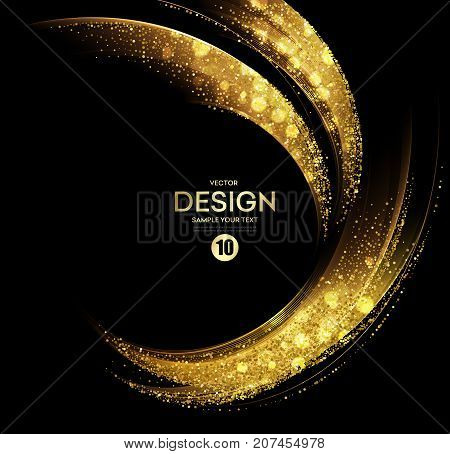Vector Abstract shiny color gold wave design element with glitter effect on dark background.