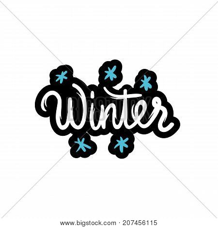 Winter text. Hand-lettering calligraphy. Vector lettering illustration for web print - stock vector