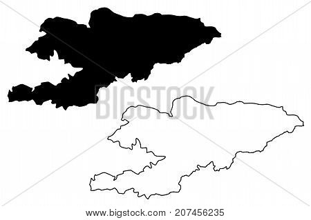 Kyrgyzstan map vector illustration , scribble sketch Kirghizia