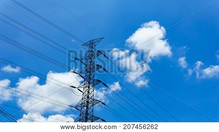 230Kv High Voltage Electricity Pylon And Transmission Line With Blue Sky And Cloud