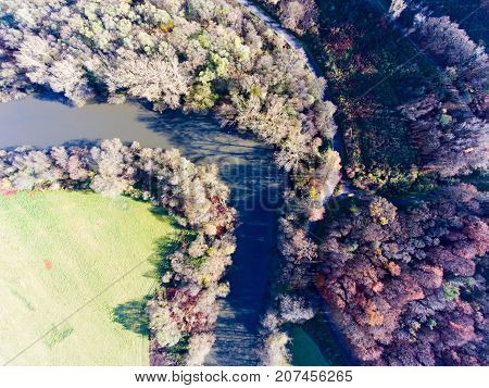 Aerial view of colorful autumn forest with coniferous and deciduous trees, river running through wood.