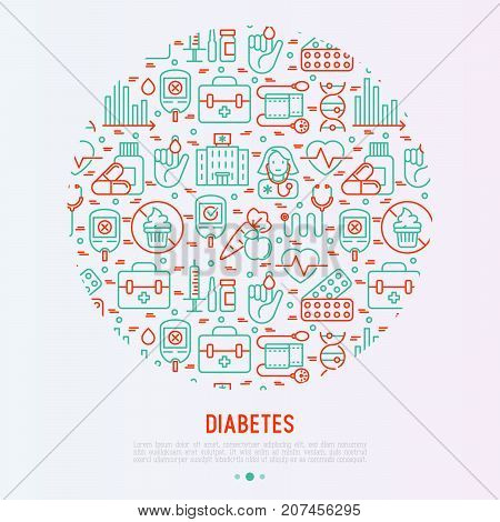 Diabetes concept in circle with thin line icons of symptoms and prevention care. Vector illustration for background of medical survey or report, for banner, web page, print media.