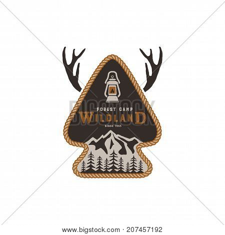 Hiking club badge. Scout adventure camp emblem. Vintage hand drawn design. Retro colors. Wild land design. Stock vector illustration, insignia, rustic patch. Isolated on white background.