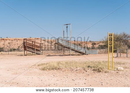 GOCHAS NAMIBIA - JULY 5 2017: A livestock loading facility on a farm next to the C15-road between Stampriet and Gochas in the Hardap Region in Namibia