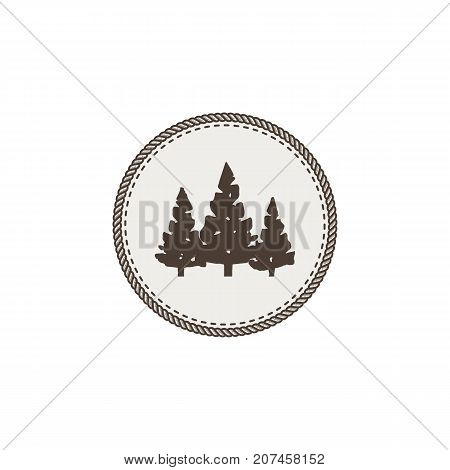 Trees icon, patch and sticker. Vintage hand drawn outdoor adventure design. Camping symbol. Stock vector isolated on white background.