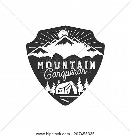 Traveling, outdoor badge. Mountain conqueror emblem. Vintage hand drawn design. Monochrome palette. Stock vector illustration, insignia, rustic patch. Isolated on white background.