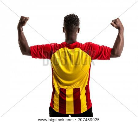 Fan / Sport Player on red and yellow uniform celebrating on white background