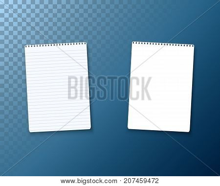 Illustration of Realistic Vector Blank Notepad TextBook Icon. Vector Notepad Template Set