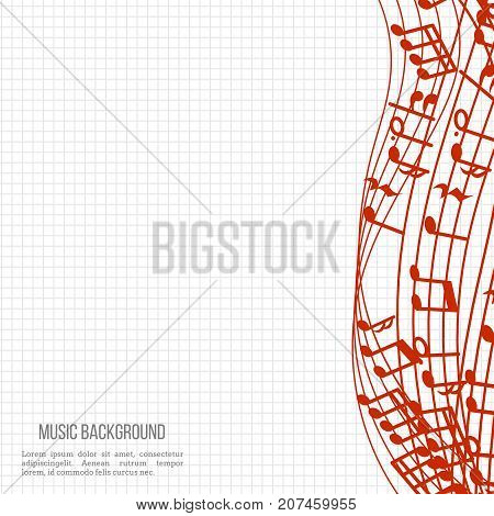 Notebook music background with red music notes and waves. Vector illustration