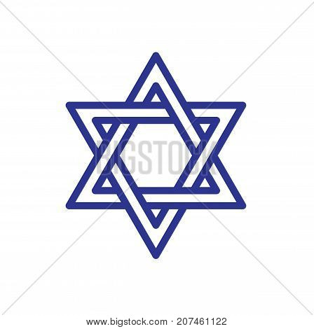 Star of David icon isolated on white background. Star of David symbol of Israel. Vector stock.