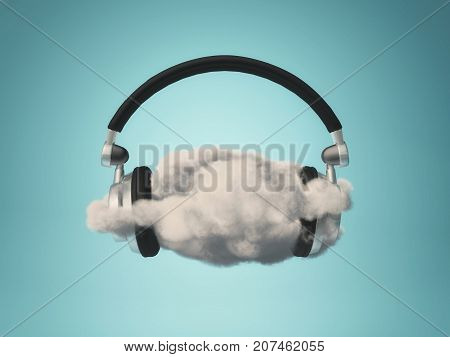 Soft music concept - headphones placed on a cloud. 3d render illustration