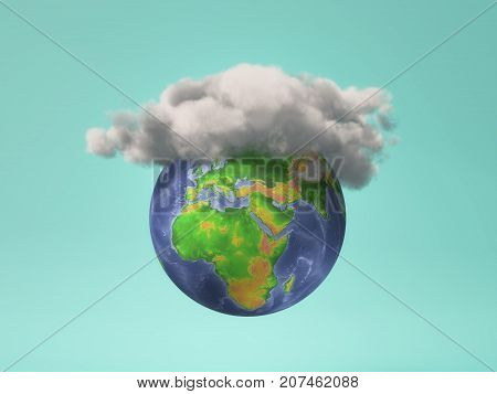 Global weather condition - a cloud on Earth globe. 3d render illustration
