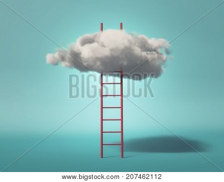 Ladder leading to a clouds. This is a 3d render illustration