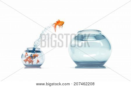 I'm not like others - be different concept - goldfish jumping in a bigger fish bowl. 3d render illustration