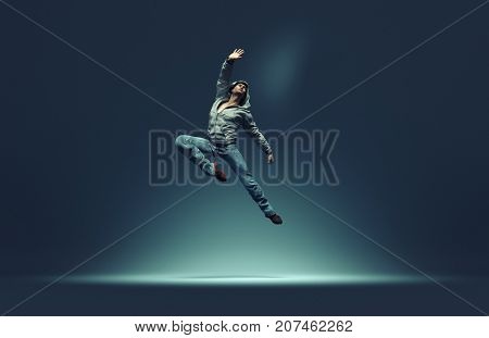 Jumping man strikes pose. This is a 3d render illustration