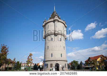 DROBETA TURNU SEVERIN ROMANIA - SEPTEMBER 24 2017: Turnu Severin Water Tower (Castelul de Apa) one of the landmark of the city located on the Danube near the Iron Gates
