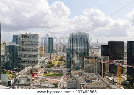 Paris France - September 12 2017: View of the Avenue Charles de Gaulle from La Grande Arche La Defense.